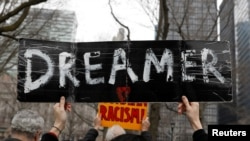 Activists and DACA recipients march up Broadway during the start of their 'Walk to Stay Home,' a five-day 250-mile walk from New York to Washington D.C., to demand that Congress pass a Clean Dream Act, in Manhattan, New York, U.S., Feb. 15, 2018.