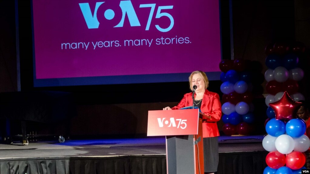 VOA Director Amanda Bennett provides welcoming remarks during Voice of America's 75th anniversary event, March 2, 2017.