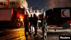 Cảnh sát Afghanistan tại nơi Taliban tấn công nhà khách nước ngoài ở Kabul, ngày 29 tháng 11, 2014.