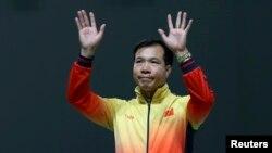 Xạ thủ Hoàng Xuân Vinh giành huy chương bạc ở nội dung 50m súng ngắn bắn chậm, Olympic Rio, 10/8/2016.