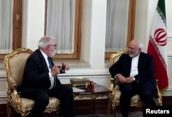 Iranian Foreign Minister Mohammad Javad Zarif meets with European Commissioner for Energy and Climate, Miguel Arias Canete, in Tehran, Iran, May 20, 2018.