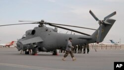 Helikopter Mi-25 buatan Rusia yang disumbangkan India kepada Afghanistan (foto: dok). India baru saja mengirim 4 helikopter Mi-25 kepada Afghanistan.