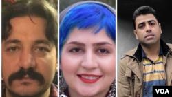 از راست اسماعیل بخشی،فعال کارگری، سپیده قلیان، فعال مدنی، امیر امیرقلی، فعال مدنی