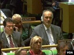 叙利亚出席联合国大会代表(美国之音视频截图)