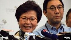 香港特首候選人林鄭月娥 (VOA湯惠芸攝)