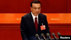 Thủ tướng Lý Khắc Cường phát biểu tại phiên khai mạc cuộc họp Quốc hội Trung Quốc ngày 5/3/2018.
