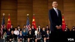 Obama se dijo emocionado en su primer viaje a China e indicó que era un país majestuoso.