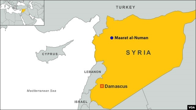 A map of Syria showing the location of Maarat al-Numan.