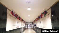 The Voice of America's entrance hall, leading to VOA offices and studios. (Photo: Diaa Bekheet)