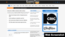 A portion of the home page of the Kashmir Times' online version. (Web screenshot)