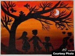 """姚晨在微博上贴夏健强绘画:""""最暗的夜里,才能看见最亮的光"""" (姚晨微博图片)"""