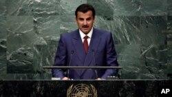 L'Emir du Qatar, Sheikh Tamim bin Hamad Al-Thani prononce son discours devant l'Assemblée général des Nations Unies, 20 septembre 2016.