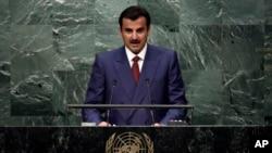 Raja Qatar Sheikh Tamim bin Hamad Al-Thani berbicara di Sidang Umum PBB, 20 September 2016, di New York.