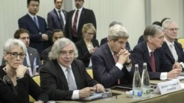 FILE - U.S. Energy Secretary Ernest Moniz (2nd from Left) participates in Iran nuclear negotiations in Lausanne, Switzerland.