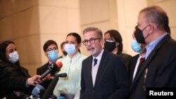 Gerardo Blyde, de la Plataforma Unitaria de Venezuela, luego de continuar las negociaciones con el gobierno en Ciudad de México. Septiembre 6, 2021.