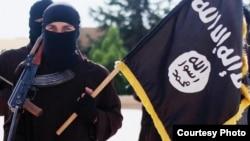 داعش کا جنگجو تنظیم کا جھنڈا اٹھائے ہوئے۔ فائل فوٹو