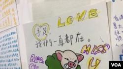 有網民設計可愛的連豬與PePe心意卡。(美國之音 湯惠芸拍攝)