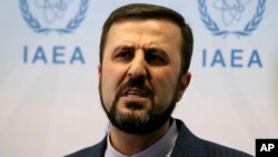 ویانا: جوہری توانائی کے بین الاقوامی ادارے میں ایران کے سفیر، غریب عبادی اخباری نمائندوں سے بات کرتے ہوئے (فائل)