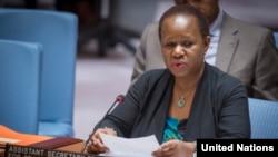 Bintou Keita, à l'époque où elle était secrétaire générale adjointe aux opérations de maintien de la paix, au siège de l'ONU, le 27 février 2018.
