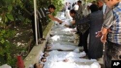 Activistas proporcionaron esta foto con presuntas víctimas de un ataque químico llevado a cabo por fuerzas del gobierno sirio.