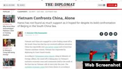 Bài báo Việt Nam đơn độc đối đầu Trung Quốc trên trang The Diplomat.