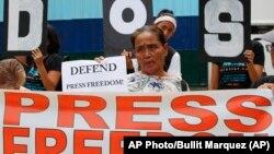 Một cuộc tuần hành nhân ngày tự do báo chí thế giới tại Manila, Philippines, 2019.