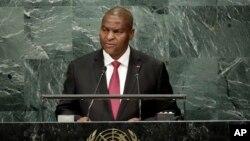 Le président centrafricain Faustin-Archange Touadéra prononce son discours lors de la 71e session de l'Assemblé générale des Nations unies, à New York, 23 septembre 2016.