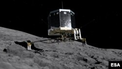 FILE - Still image from animation of Philae separating from Rosetta and descending to the surface of comet 67P/Churyumov-Gerasimenko, Nov. 2014.