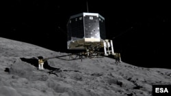 FILE - This still image from animation shows Philae separating from Rosetta and descending to the surface of comet 67P/Churyumov-Gerasimenko, Nov. 2014.