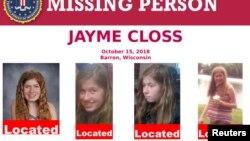 Poster FBI-a na kojem se vidi Džejmi Klos i informacija da je pronađena u Gordonu, u Viskonsinu (Foto: FBI/Reuters)