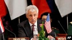Bộ trưởng Quốc phòng Mỹ Chuck Hagel tại Hội nghị Bộ trưởng Quốc phòng ASEAN+ tại Brunei, ngày 29/8/2013.