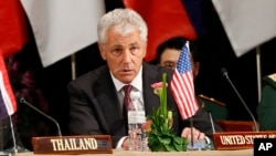 U.S. Defense Secretary Chuck Hagel speaks during a press conference after the Association of Southeast Asian Nations (ASEAN) defense ministers meeting in Bandar Seri Begawan, Brunei, Aug. 29, 2013.