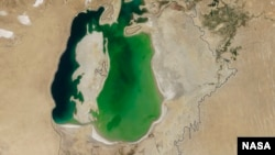 The Aral Sea, now and in 1960.