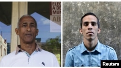 Cuban ward delegates Hildebrando Chaviano, left, and Yuniel Lopez, right, are running for municipal assembly April 19 after winning endorsement from their neighbors at public meetings last month, in Havana, Cuba.