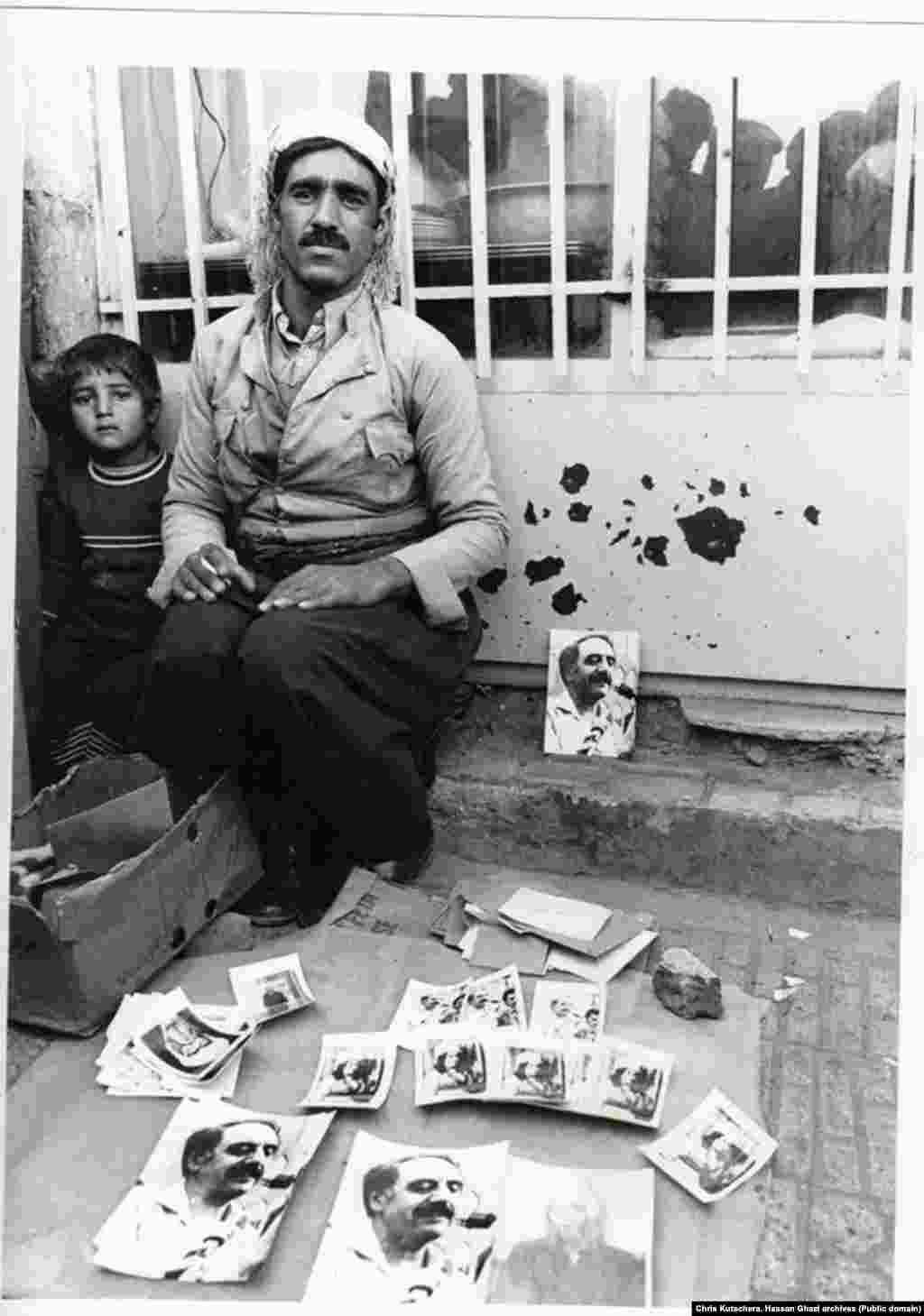 Mahabad Fall 1979  selling images of Kurdish leaders on the street Chris Kutschera Photos