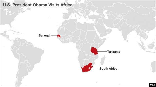 Map of countries President Obama will visit during his week-long trip to Africa.