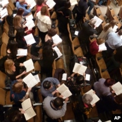 """Most of the """"Messiah Sing-In"""" participants bring their own scores."""
