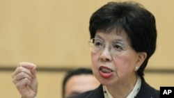 WHO Director-General Margaret Chan makes a point during her address to the 64th World Health Assembly at the United Nations European headquarters in Geneva, May 16, 2011