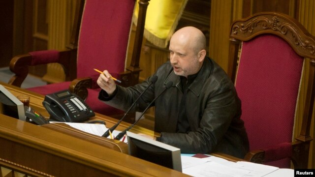 Newly-elected speaker of parliament Oleksandr Turchynov, who on Sunday assumed interim presidential powers, is seen in the parliament building in Kyiv February 22, 2014.