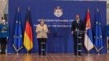 Nemačka kancelarka Angela Merkel i predsednik Srbije Aleksandar Vučić na konferenciji za novinare u Palati Srbija (Foto: Fonet)
