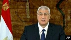 Geçici Cumhurbaşkanı Adli Mansur yol haritası değişikliğini televizyonda açıklarken