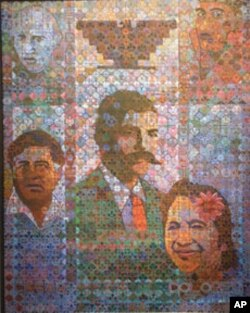'The Return of Aztlan,' by Alfredo Arreguin, features activists César Chávez (lower left), Dolores Huerta (right) and Emiliano Zapata (center) © Alfredo M. Arreguin