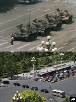 上图:1989年6月5日,王维林单人挡坦克。下图:25年后,2014年5月27日,同一地点,车队驶过长安街。