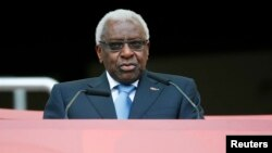 FILE - Lamine Diack speaks during the opening ceremony of the 15th IAAF World Championships at the National Stadium in Beijing, China, Aug. 22, 2015.