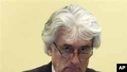 Wartime Bosnian Serb leader Radovan Karadzic appears at the International Criminal Tribunal in the Hague to face war crimes charges, 03 Nov 2009