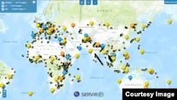 SERVIR map showing locations of sattellite images around the globe.