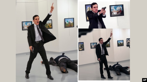 A man gestures after shooting Andrei Karlov, the Russian Ambassador to Turkey in this composite of three photos.