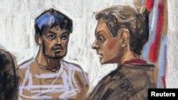 Sketsa gambar tersangka Quazi Mohammed Rezwanul Ahsan Nafis – pria Bangladesh berusia 21 tahun, saat menghadiri sidang pembacaan dakwaan di pengadilan New York (17/10).