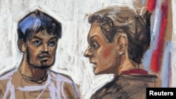 Quazi Mohammad Rezwanul Ahsan Nafis (kiri) saat disidang di Pengadilan New York, 17 Oktober 2012 (Foto: ilustrasi ruang sidang). Mahasiswa asal Bangladesh ini dijatuhi hukuman 30 tahun penjara.