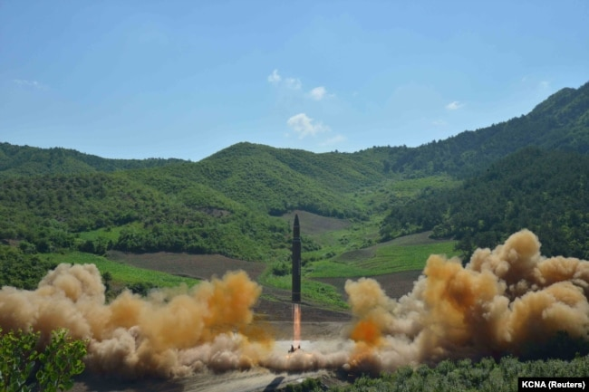 FILE - The intercontinental ballistic missile Hwasong-14 is seen during its test launch in this undated photo released by North Korea's Korean Central News Agency (KCNA) in Pyongyang, July 4, 2017.